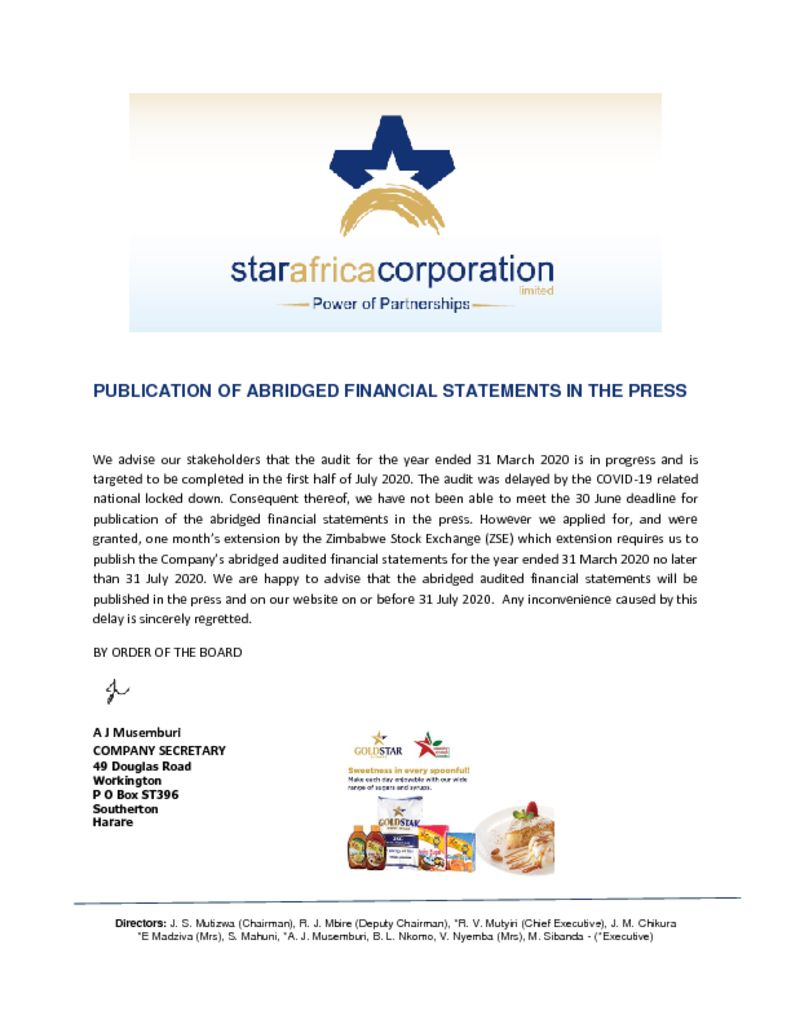 thumbnail of PUBLICATION OF ABRIDGED FINANCIAL STATEMENTS